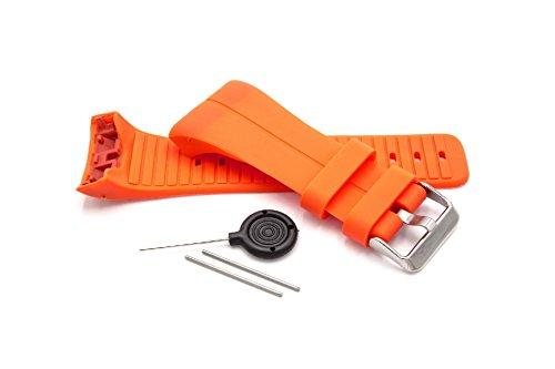 vhbw TPE Ersatz Armband kompatibel mit Polar M400, M430 Fitnessuhr, Smartwatch - 9.0cm + 12.2 cm blutorange