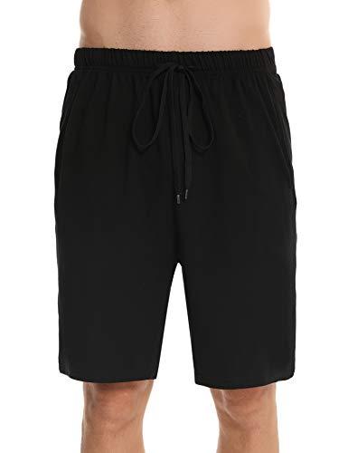 Irevial Short Homme Coton Pantalon Court Homme Été Bas de Pyjama avec Poches et Cordon de Serrage, M, Noir