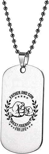 WYDSFWL Collar Colgante de Acero Inoxidable día de mi Hijo Padre Hijo Collar Nombre Escudo Collar Perro Templo Mejores Amigos de por Vida para Mujeres Hombres Regalos Regalo