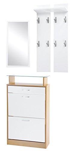 ts-ideen Set di 3 pezzi Guardaroba Scarpiera Mobile per le scarpe in bianco Specchio con effetto legno di faggio Armadio con cassetti e scaffale in vetro