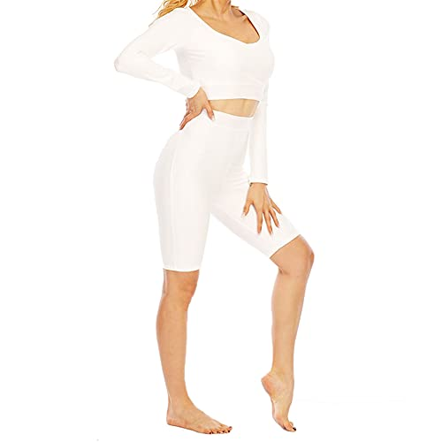 Conjunto de Ropa Fitness Deportiva para Mujer, Lady Yoga Ropa de vestir Entrenamiento Outfits 2 piezas Altas Cintura Shorts Fitness Leggings + Manga Larga Gimnasio Cultivo Top Top Yoga Camisetas Juego