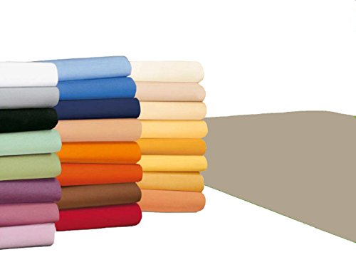 #5 badtex24 Jersey Spannbettlaken, Spannbetttuch, Bettlaken, 90x190 cm – 100x200 cm, Beige