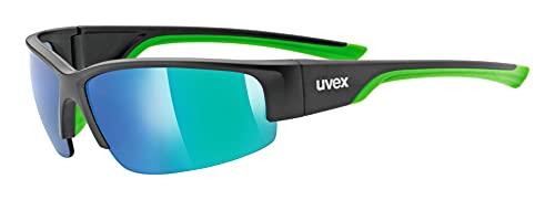 uvex Unisex– Erwachsene, sportstyle 215 Sportbrille, black mat green/green, one size