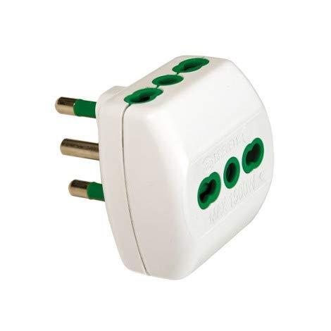 Fanton 82180 drievoudige adapter verticaal systeem Italiaanse stekker 2P+T 16A en 3 fasen Italië 2P+T 16A wit 1 Pezzo