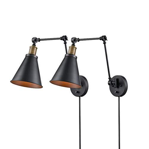 """Lámpara de Pared Metal Ajustable Interior Apliques Negra Industrial Brazo Oscilación con Interruptor y 70.87"""" Cable E27 Luces de Lectura para Cama Cabecero Cocina Dormitorio Sala de Estar,2Pack"""