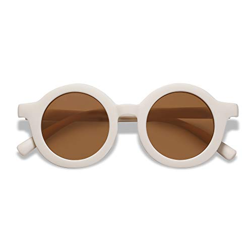 SOJOS Cute Round Baby Sunglasses for Kids Girls Boys Vintage UV400 Protection Classic Children De Sol Gafas Beach Holiday SK5606 with Beige Frame/Brown Lens
