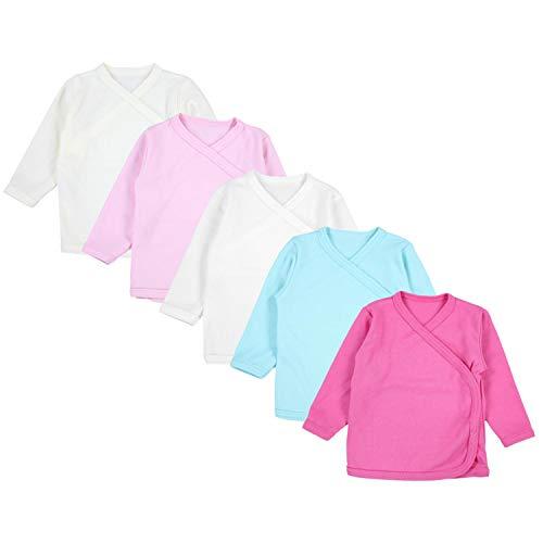 TupTam Unisex Baby Langarm Wickelshirt 5er Set, Farbe: Mädchen, Größe: 74