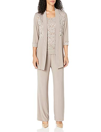 R&M Richards Women's Lace Pant Set, Mocha, 12