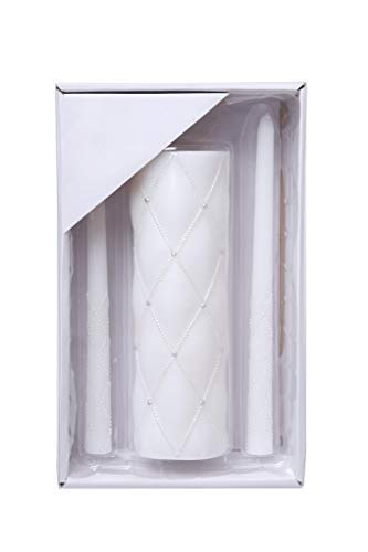 Hosley 11.5 Inch High White Wedding Unity Candle Set. Great for Weddings Party Special Events and Emergency Lighting Reiki Spa Meditation. W5