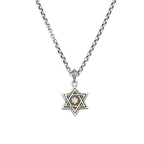SUIWO Dominante joyería de cuello el collar de cadena pendiente del collar S925 plata de los hombres collar for hombre de la estrella de seis puntas de plata tailandesa Afluencia los hombres de la ven
