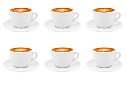Luxpresso Dickwandige Cappuccinotassen, Cappuccino Autentico, weiß aus Porzellan, 6 Stück