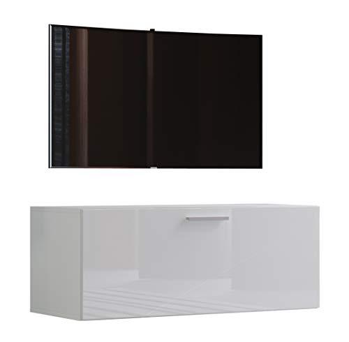 VCM TV Wand Board Schrank Tisch Fernseh Lowboard Wohnwand Regal Wandschrank Hängend Weiß 40 x 95 x 36 cm