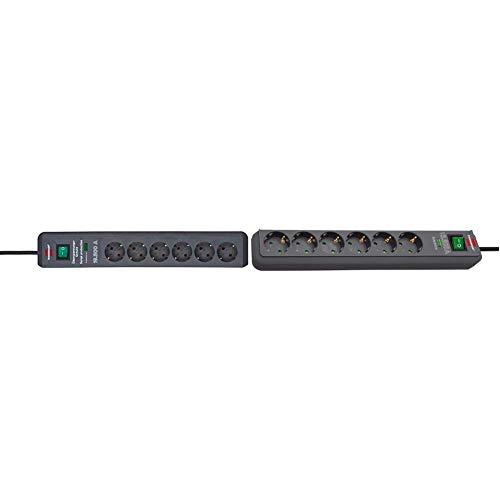 Brennenstuhl Secure-Tec, Steckdosenleiste 6-Fach (2m Kabel und Schalter) anthrazit & Eco-Line, Steckdosenleiste 6-Fach mit Überspannungsschutz (Steckerleiste mit Schalter und 1,5m Kabel) anthrazit