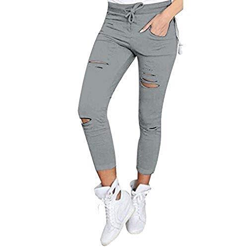 Live It Style It Damen dehnbar verblichen Zerrissen Enge Passform Skinny Jeggings Hosen Damen Hose - grau, Medium
