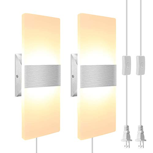 Modern LED Wall Sconce JACKYLED Set of 2 Wall Lights with 6FT Plug in Cord, Acrylic LED Wall Lamp with ON/Off Switch Mounted Wall Lights for Living Room Bedroom Hallway Room Decor-12W 3000K Warm White