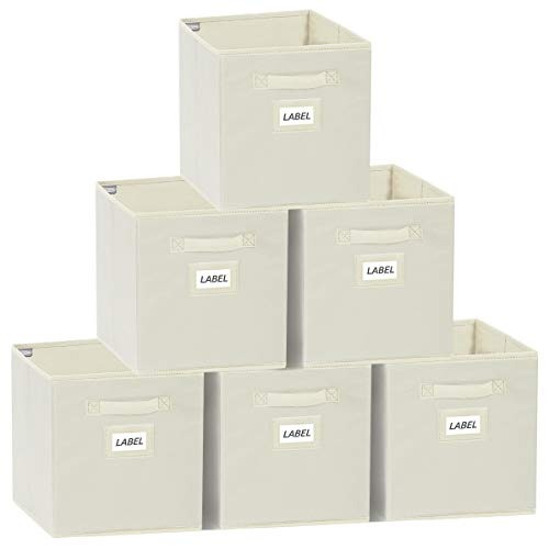 YOUDENOVA Aufbewahrungsbox 6er Pack Faltbox Aufbewahrungskiste Storage Boxes Ordnungsbox Faltbare Kisten 28x28x28 Beige