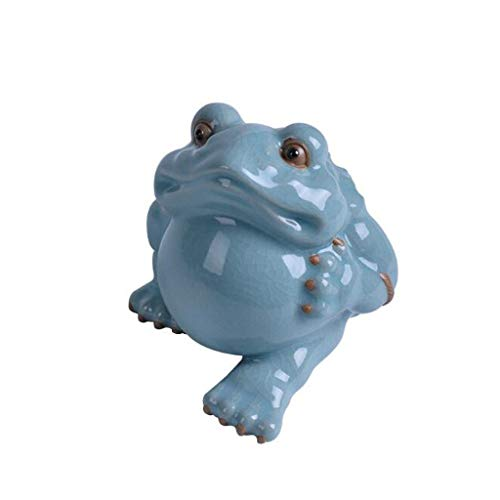 Cakunmik Home Office Decoration, Fine Ru Kiln Golden Toad Ornaments,Feng Shui Lucky Three-Legged Golden Toad Statue