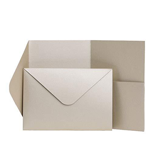 Pocketfold Invites Ltd Einladungskarten, Perlglanz, 185 x 130 mm, Champagnerfarben champagnerfarben