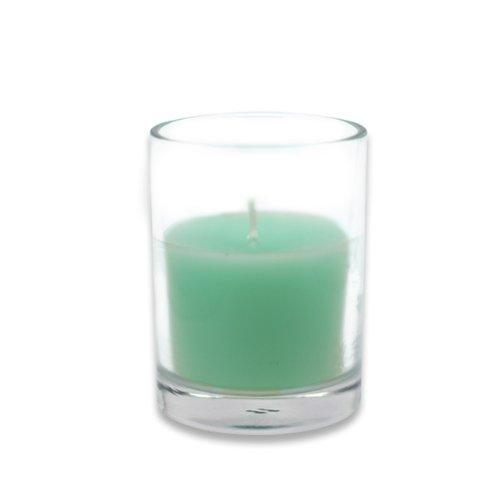 Zest Candle 12-Piece Votive Candles, Aqua Round Glass