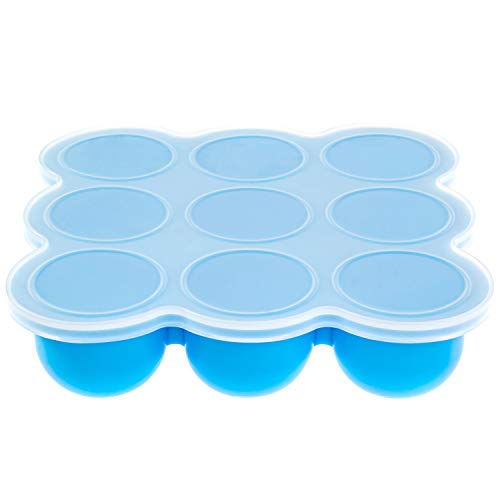 Silicone Baby Food Storage Container and Freezer Tray with Clip-On Lid, 100% Food-Grade, BPA Free