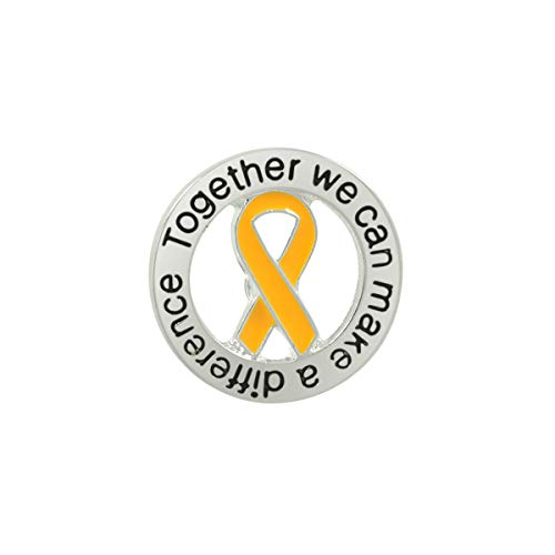 Fundraising For A Cause | Gold Ribbon Round Awareness Pin - Lapel Pins for Childhood Cancer Fundraisers & Awareness Events (1 Pin)