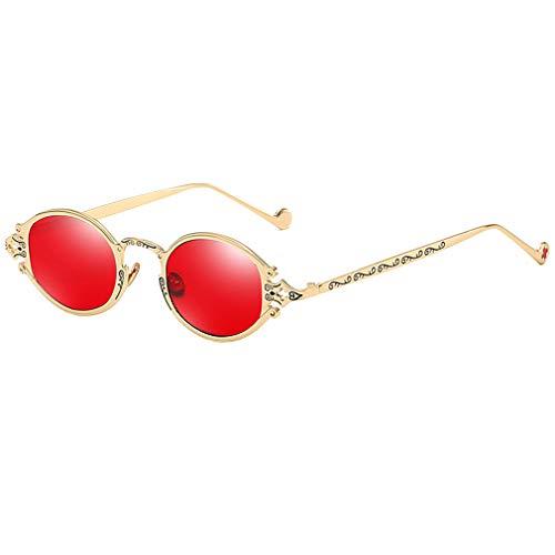 WEIMEITE Vintage Rap Sunglasses Hombres Mujeres Estilo Punk Hip-Hop Pequeño Retro Redondo Marco de Metal Gafas