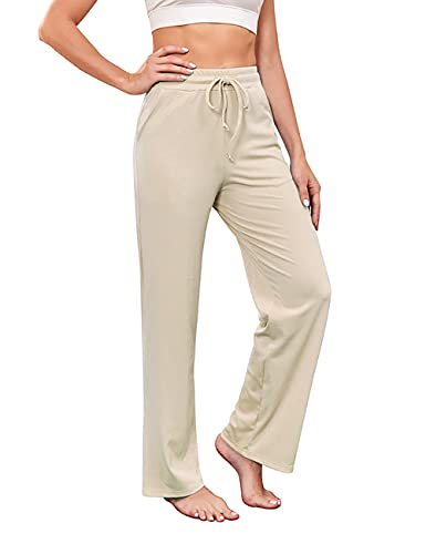 GOCHIC Baggy Pants for Women Wide Leg with Elastic Waist Beige Medium