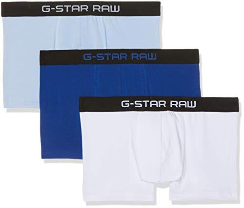 G-STAR RAW Herren Tach Trunk 3 Pack Boxershorts, Mehrfarbig (Hudson Blue/White/lt Wave), Large (3er Pack)
