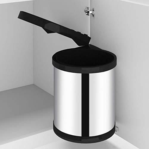 Festnight Küchen-Einbau-Mülleimer Edelstahl 12 L Abfallsammler Abfalleimer Türmülleimer Abfalltrenner Mülltrenner Treteimer
