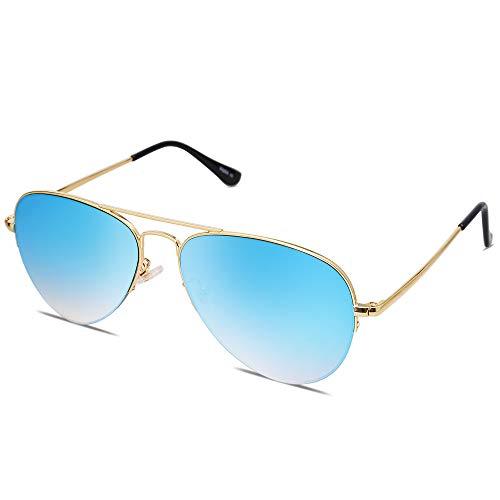 SOJOS Gafas De Sol Clasico Para Mujer Hombre Marco De La Mitad INSPIRATION SJ1106 Con Marco Dorado/Lente Gradiente Espejo Azul