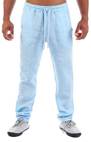 Young & Rich Herren Leinenhose Sommerhose 100% Leinen mit Kordelzug Straight Regular Fit S4103, Grösse:L, Farbe:Hellblau