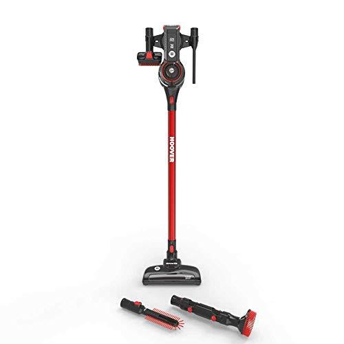 Hoover Freedom FD22BR - Aspiradora escoba y mano sin cable, ciclónico, especial alergias, batería ion litio 22V,25mins, 0,7L, cepillo motorizado, accesorios para radiadores, tapicería y rincones, color negro y rojo