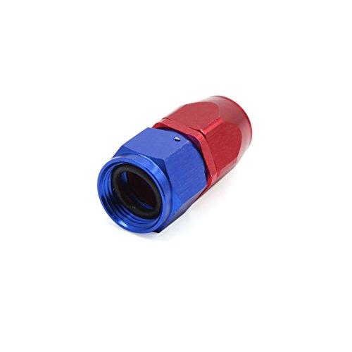 sourcing map AN10 Conector Aluminio Azul Rojo Recto Racor Giratorio de Tubo de Aceite Combustible