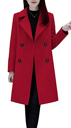 chouyatou Women's Basic Essential Double Breasted Mid-Long Wool Blend Pea Coat (Medium, Red)