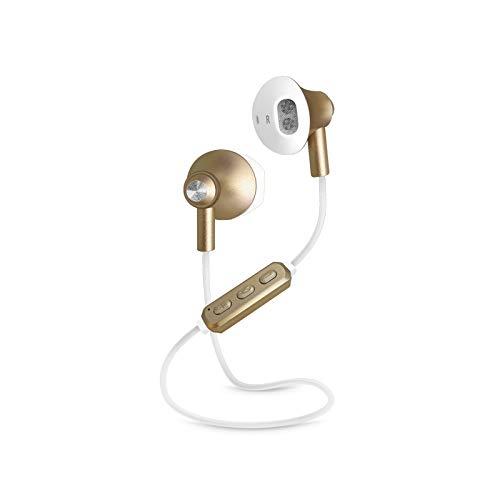 SBS - Auriculares inalámbricos con Bluetooth (duración de 3 Horas, micrófono y Cable de Carga, Auriculares inalámbricos Dorados para Apple iPhone)