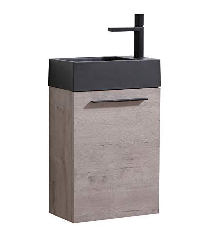 Badezimmer Badmöbel Set Madrid 40x22 cm Grau Eiche mit schwarzes Waschbecken - Unterschrank Schrank Waschtisch Toilette