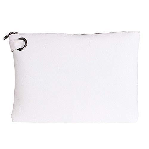 Tskybag Bolso de mano de gran tamaño, para mujer, de piel sintética, tamaño grande, con correa de noche, color Blanco, talla Large
