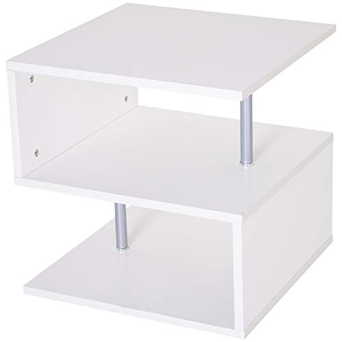 HOMCOM 20 Chic Designer S-Shaped Multi-Level Accent End Table Shelf with Steel Poles, White