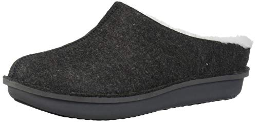 Clarks Women's Step Flow Clog, Black Felt with Faux Fur, 10 M US