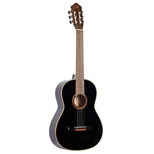 Ortega R221BK Konzertgitarre in 4/4 Größe schwarz im hochglänzenden Finish weißes Perlmut Deckenbinding mit hochwertigem Gigbag