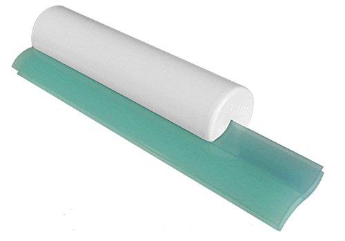 Cleret Classic Squeegee, Abzieher für Duschkabinen mit zweifacher Gummilippe - Weiß/Aqua, 25 cm lang
