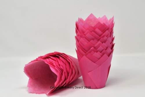 Bakery Direct, pirottini per muffin, a forma di tulipano, colore: rosa brillante