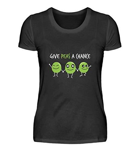 Peace Erbsen Diseño – Paz SŸ§ Niedlich dieta comida divertida frase Vegan regalo – Camiseta de mujer Negro  XL