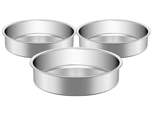 Round Cake Pans, HKJ Chef Layer Cake Pans Set Stainless Steel, Baking Round Pan Nonstick for Oven Baking Steaming Serving, Non-Toxic, Dishwasher Safe & Mirror Finish & Even-Heating