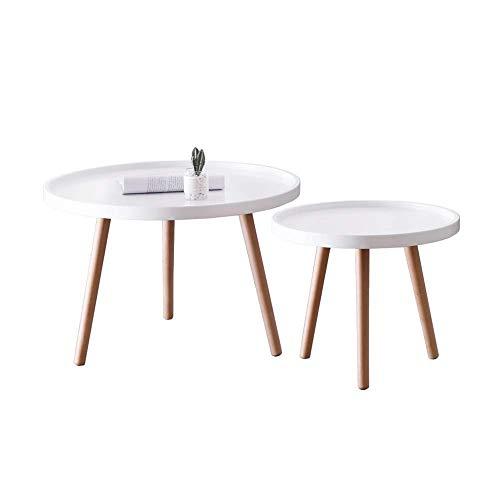N/Z Wohnausrüstung Set mit 2 stapelbaren Beistelltischen für Wohnzimmer runde Vintage Couchtische für kleine Räume aus Holz