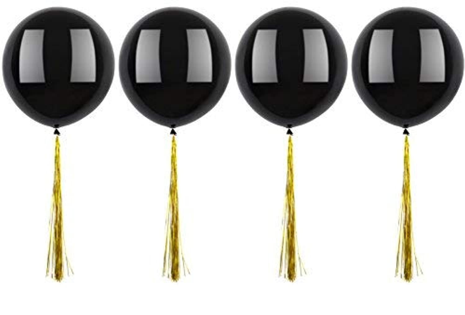 Fonder Mols 4pcs 36inch Giant Black Jumbo Balloons with Gold Foil Tassels Garland for 2019 Graduation & Wedding Party Decorations
