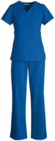 Grey s Anatomy 4153 4232 Women s Mock Wrap Top Tie Front Pant Medical Scrub Set New Royal XL product image