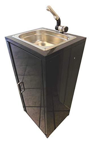 TMM Mobiler Spülbecken Waschbecken Spüle Handwaschbecken Schwarz inkl. Zubehör/Spülbecken für Verkaufsstand Camping