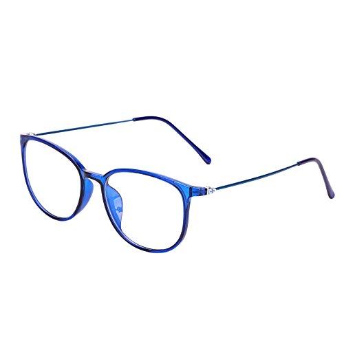 LONTG Retro Brille ohne stärke Student Slim-Brille Damen Herren Nerdbrille Linsen Brillenfassung clear lens Dekobrillen modisch rund Streberbrille Strahlenschutz lesebrille für Computer PC mit Brillenetui