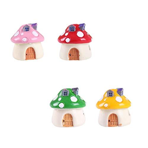 Cabilock 4Pcs Figuras de La Casa de Setas en Miniatura Figura Decoración del Paisaje del Jardín de Hadas (Rojo Rosa Amarillo Verde)